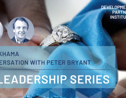 Sheila Khama and Peter Bryant headshots with title DPI Leadership Series